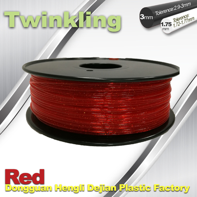 चीन Flexible 3D Printer Filament Twinkling 3mm 1.75mm Red Filament 1.3Kg / Roll आपूर्तिकर्ता