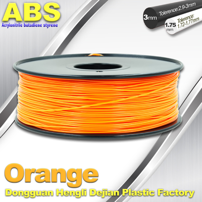 चीन Orange  3D Printing Materials 1.75mm ABS 3D Printer Filament In Roll आपूर्तिकर्ता